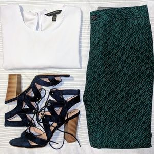 Navy Ankle Slacks with Emerald Green Pattern